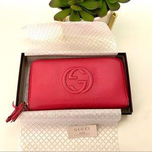 Gucci Pink Soho Pebbled Calfskin Zip Around Wallet